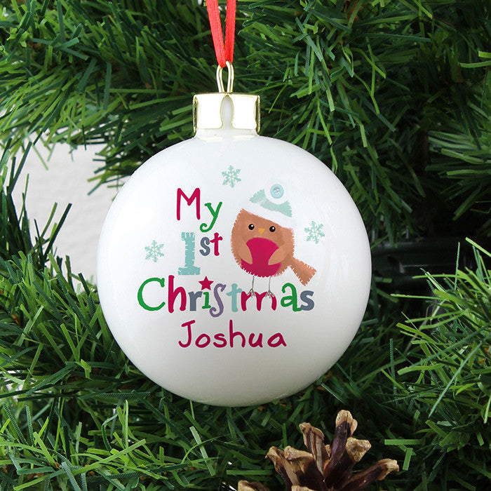 Personalised 'My 1st Christmas' Bauble with Felt Robin - on Tree