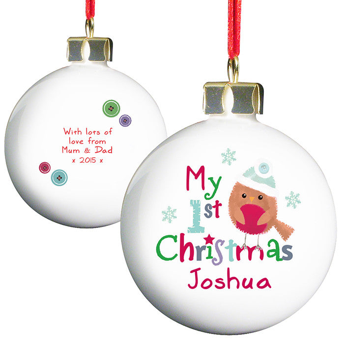 Personalised 'My 1st Christmas' Bauble with Felt Robin