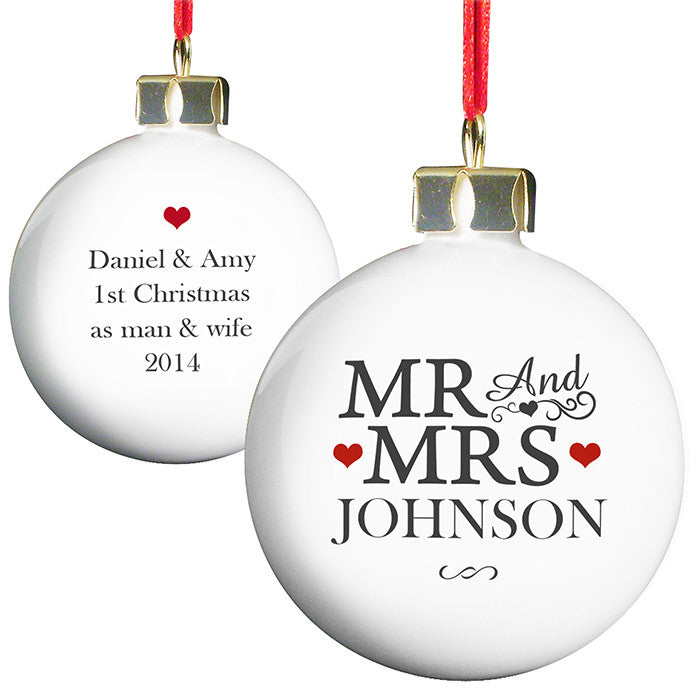 Personalised 'Mr &Mrs' Christmas bauble - white, black text, red hearts
