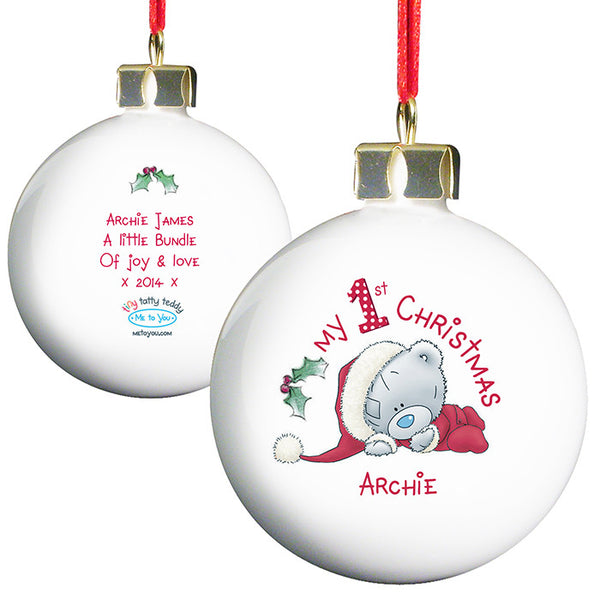 Personalised 'My 1st Christmas' Bauble with Tatty Teddy