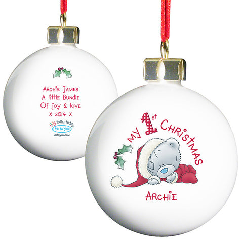 Personalised 'My 1st Christmas' Bauble - 'Me To You'