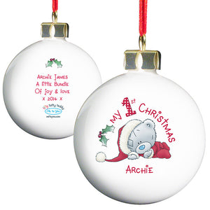 You added Personalised 'My 1st Christmas' Bauble - 'Me To You' to your cart.