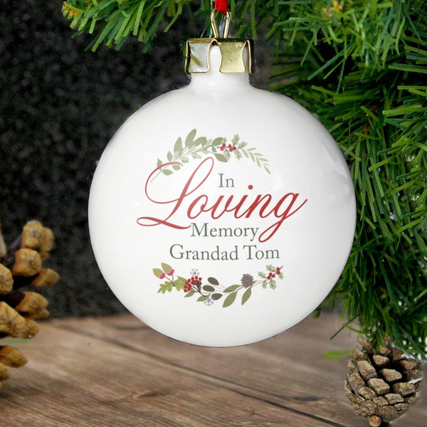 Personalised 'In Loving Memory' Christmas Bauble - Wreath