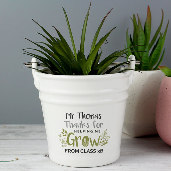 Personalised 'Thanks for Helping Me Grow' Teacher Porcelain Planter