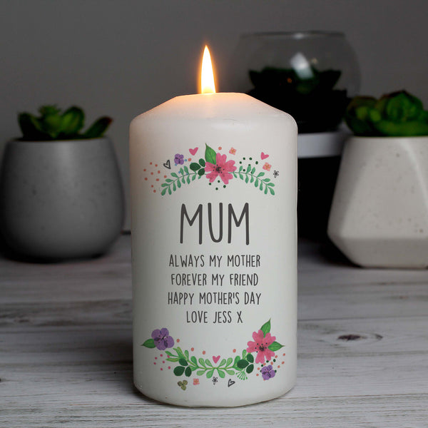 Personalised Floral Pillar Candle