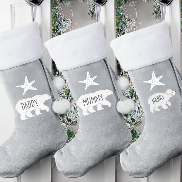 Personalised Luxury Silver Grey Christmas Stocking - 6 Designs