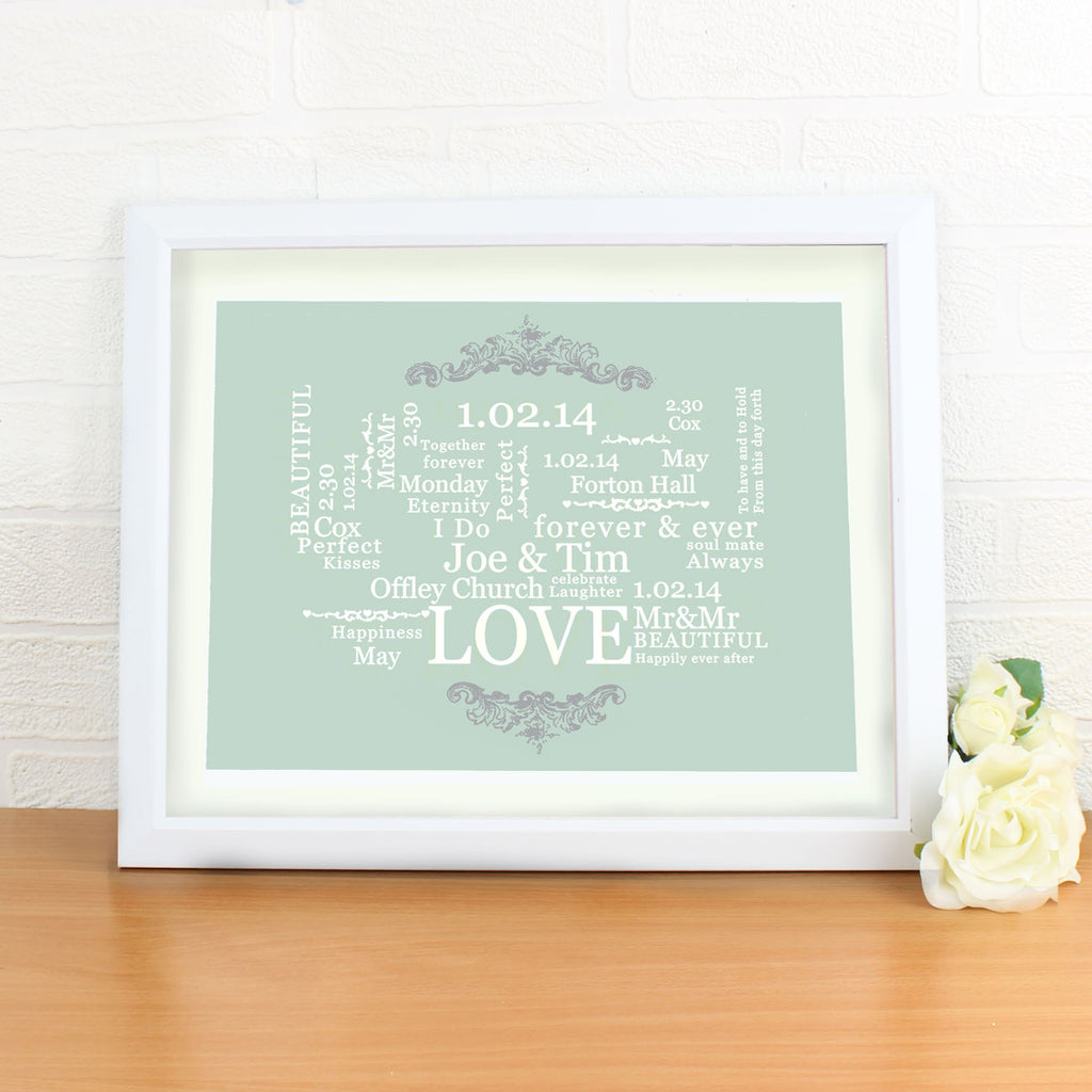 Wedding Typographic Art Poster White Frame