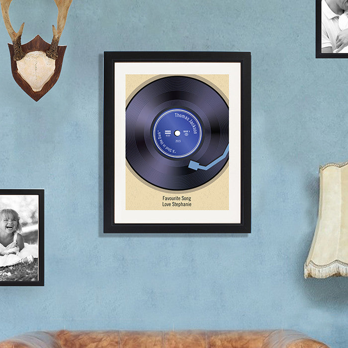 Personalised vinyl record poster - lifestyle.