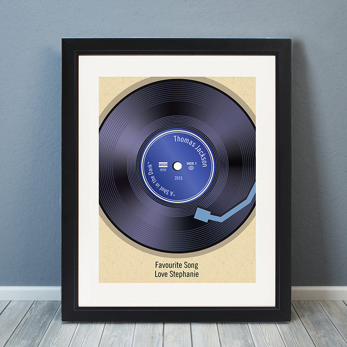 Personalised framed vinyl record poster - lifestyle.