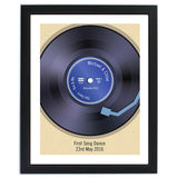 Personalised framed vinyl record poster.