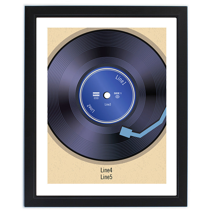 Personalised framed vinyl record poster - short message.