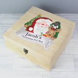 Personalised Colourful Santa Large Wooden Christmas Eve Box