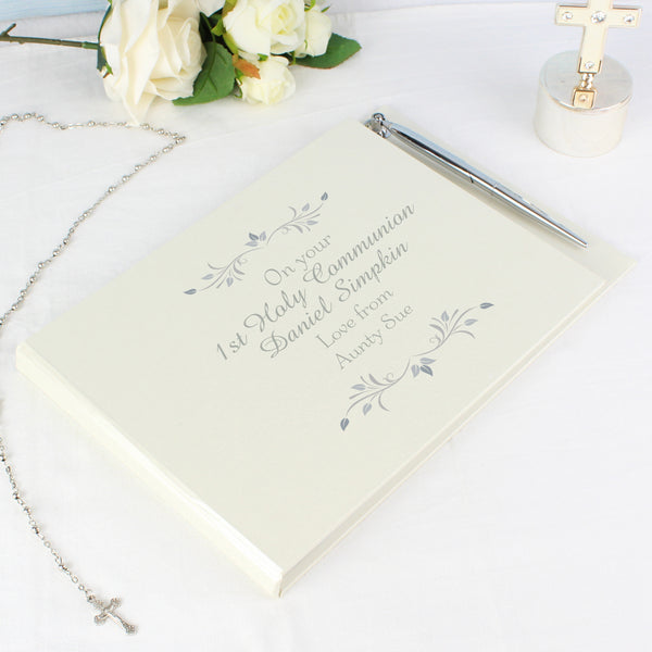 Personalised Sentiments Memorial Guest Book & Pen