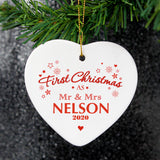 Personalised 'First Christmas as Mr & Mrs' Decoration, Ceramic Heart