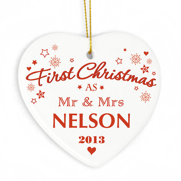 Personalised Christmas Decoration - 'First Christmas AS' cermainc heart