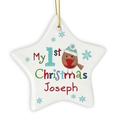 Personalised 'My 1st Christmas' Star Decoration, Ceramic, Felt Stitch Robin