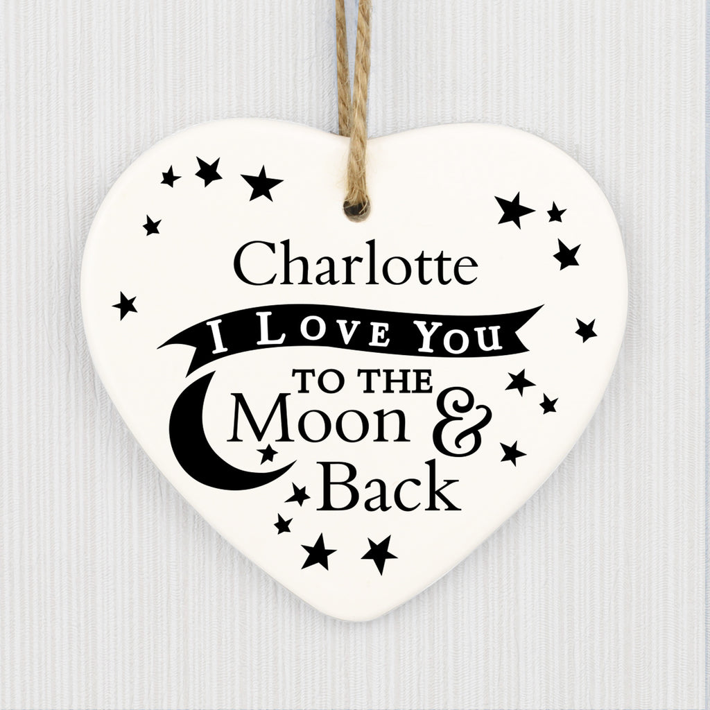 love you to the moon back ceramic heart decoration. Black Bedroom Furniture Sets. Home Design Ideas