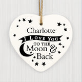 XXX I love you to the moon & back white ceramic heart decoration