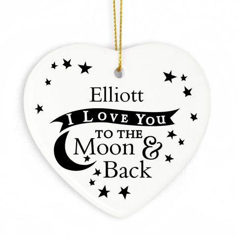 Personalised 'I love you to the Moon & Back' Ceramic Heart Decoration