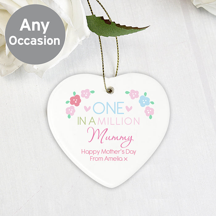 Personalised One in a Million Ceramic Heart Decoration Any Message