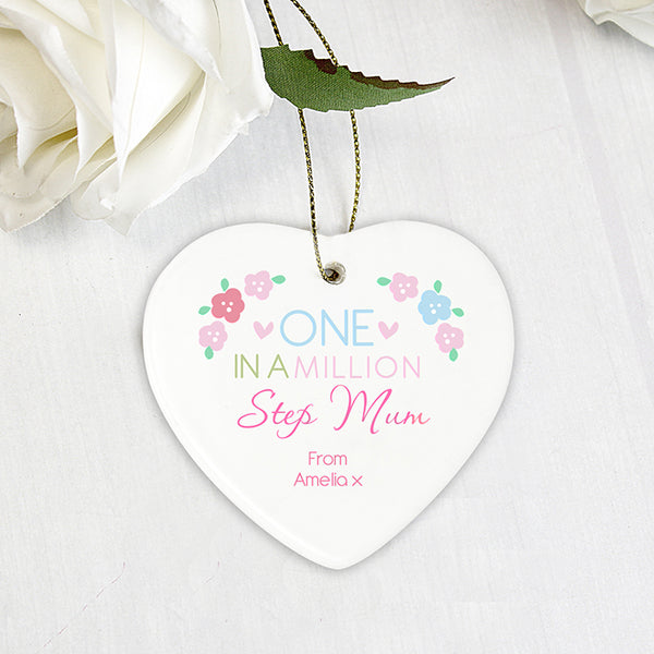 Personalised One in a Million Ceramic Heart Decoration for Step Mum