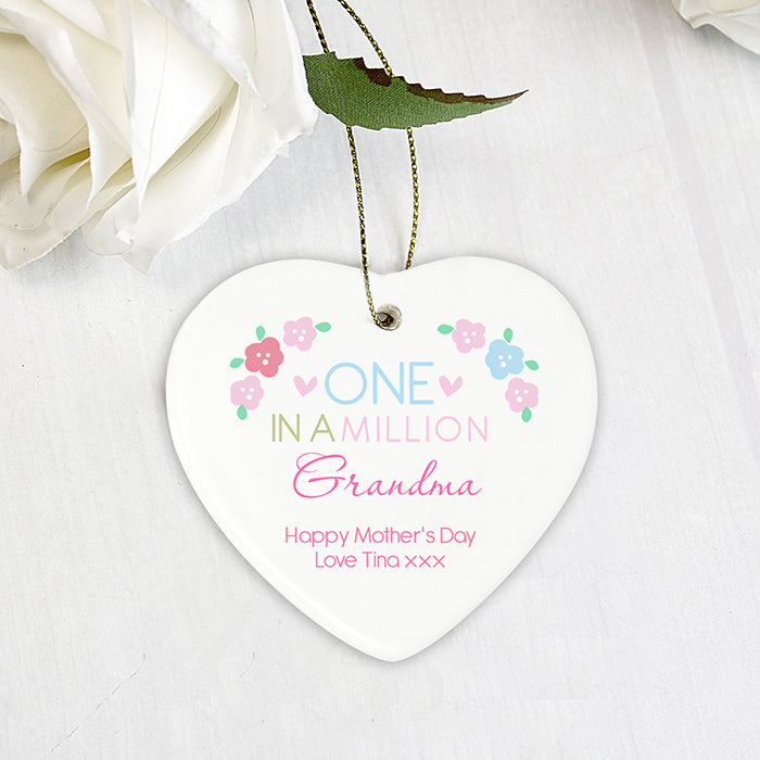 Personalised One in a Million Ceramic Heart Decoration for Grandma