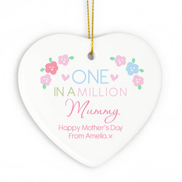 Personalised One in a Million Ceramic Heart Decoration for Mummy