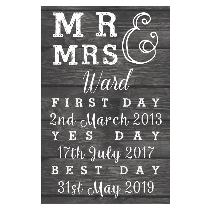 Personalised Mr & Mrs 'First Day, Yes Day, Best Day' Sign