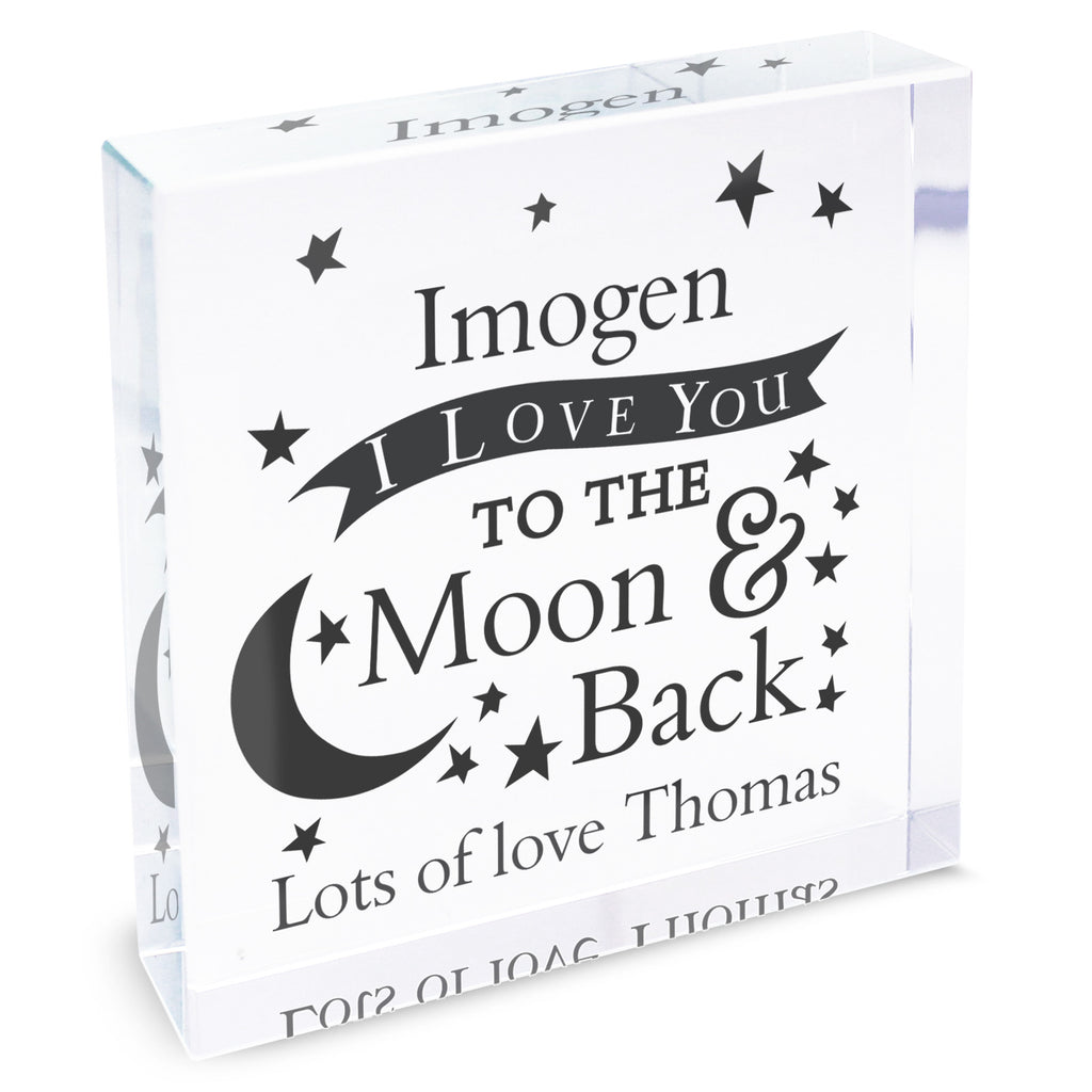 Personalised I LOVE YOU TO THE Moon & Back crystal block