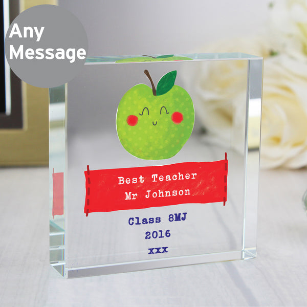 Personalised Apple for the Teacher Crystal Token