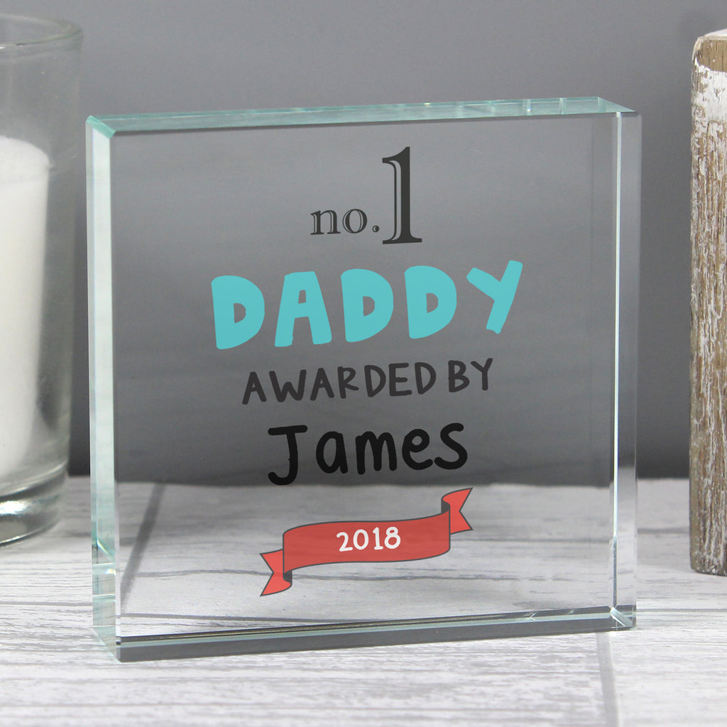 Personalised Best Daddy Award Crystal Token