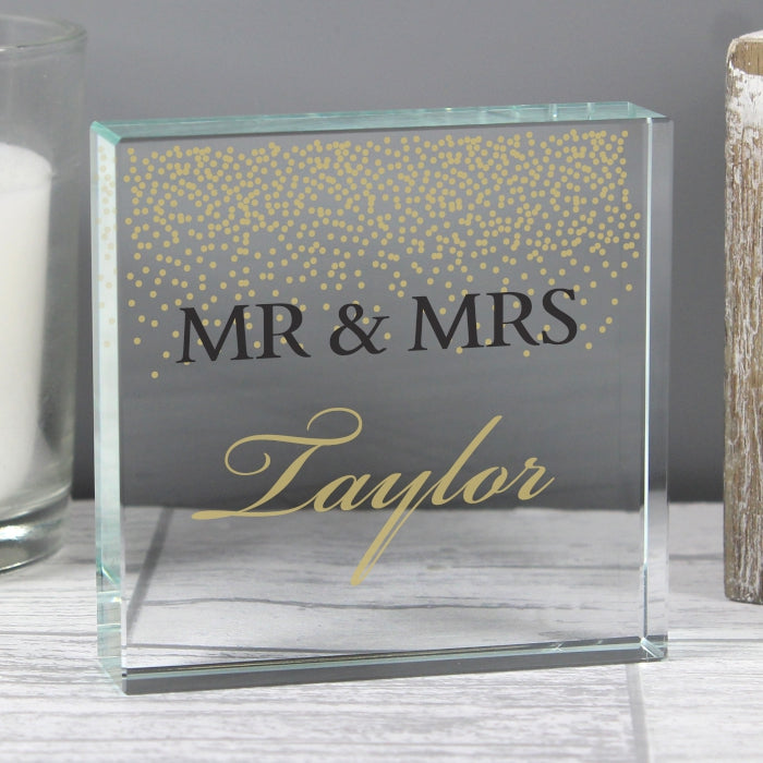 Gold Confetti Personalised Crystal Token