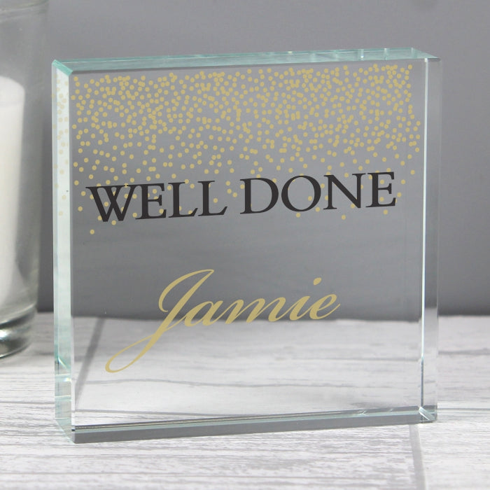 Gold Confetti Personalised Large Crystal Token
