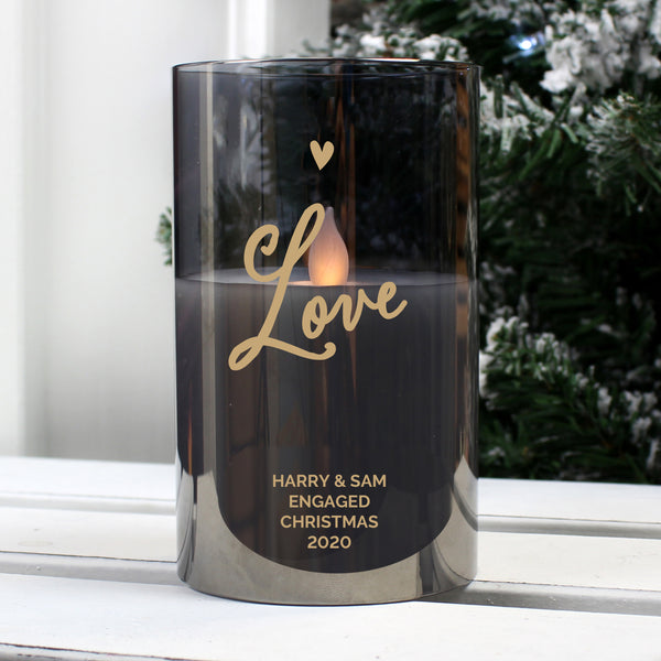 Personalised Love Smoked Glass LED Candle