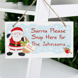 Personalised 'Santa Please Stop Here' Sign - Wooden