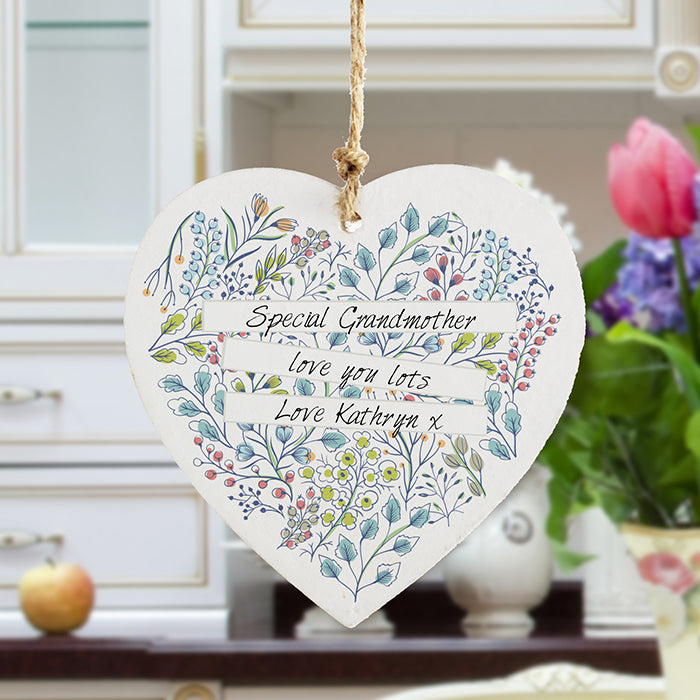 Personalised Botanical Wooden Heart for Grandma, Gran, Nana, Nan