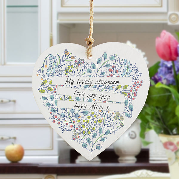 Personalised Botanical Wooden Heart for Stepmum