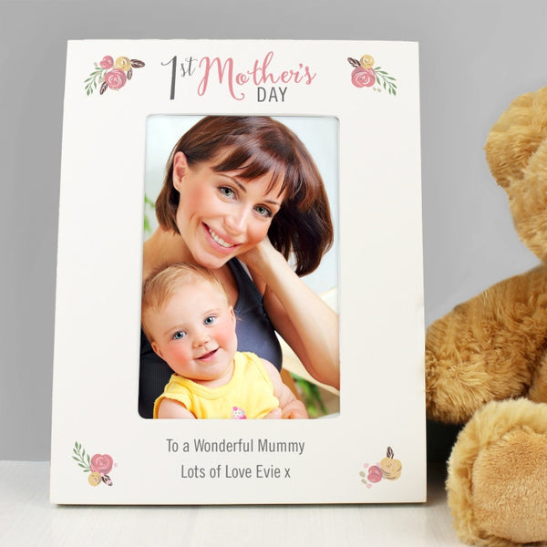 Personalised Floral Bouquet 1st Mother's Day 6x4 Photo Frame