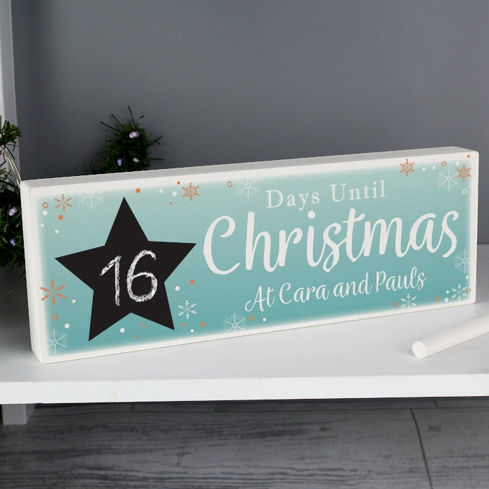 Personalised Christmas Chalk Countdown Wooden Block Sign