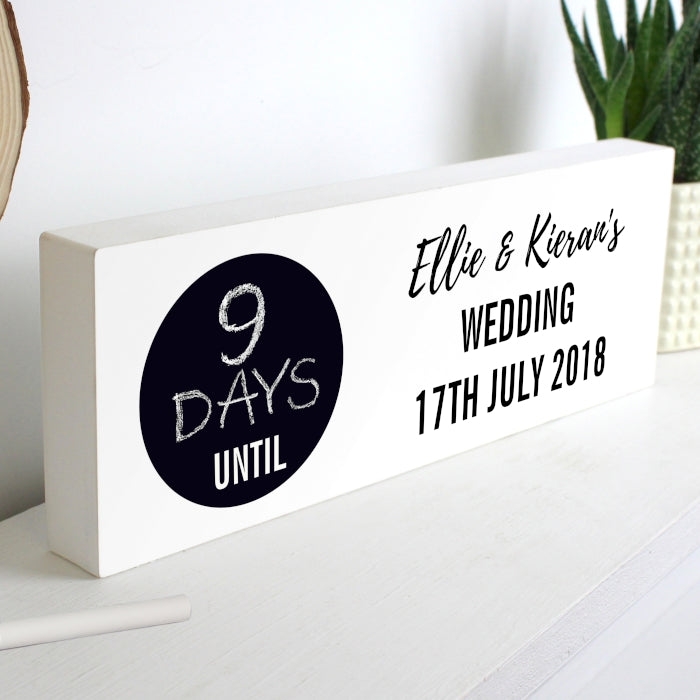 Personalised Classic Chalk Countdown Wooden Block Sign - Any Event