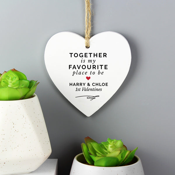 Personalised Together Is My Favourite Place Wooden Heart Decoration