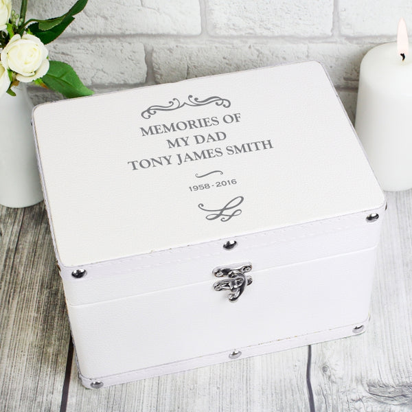 Personalised White Leatherette Keepsake Box - In Loving Memory