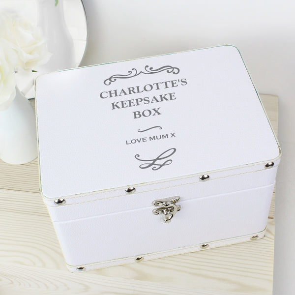 Personalised White Leatherette Keepsake Box - Any Message