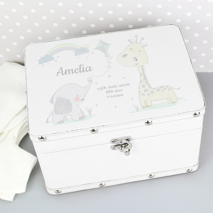 Personalised White Leatherette Keepsake Box - New Baby