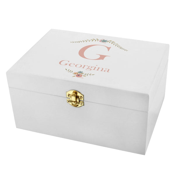 White Wooden Keepsake Box Personalised with Initial & Name