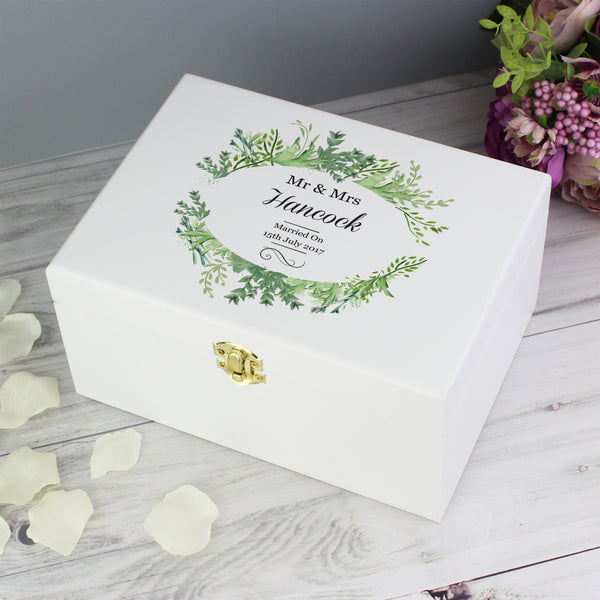 Personalised Botanical White Wooden Keepsake Box