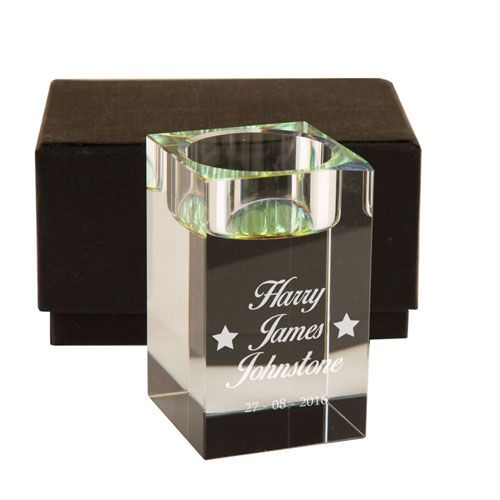 Personalised Stars Design Glass Tea Light Candle Holder