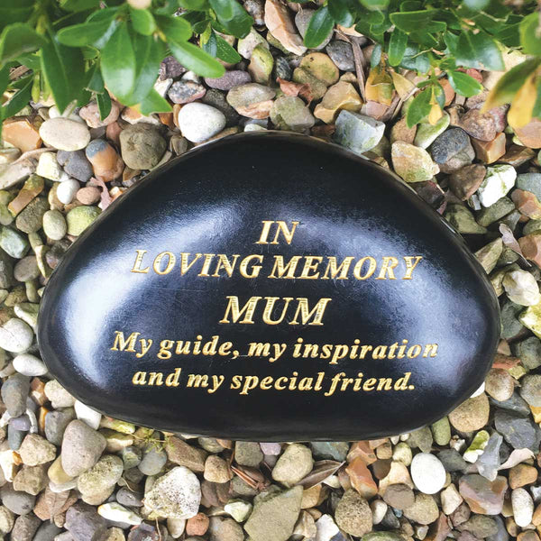 Black & Gold Outdoor Memorial Pebble - Mum