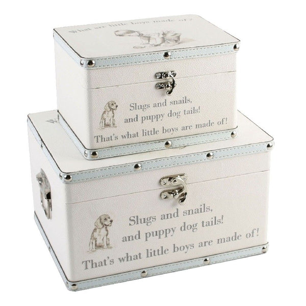 2 Keepsake Boxes, 'What are little boys made of?'