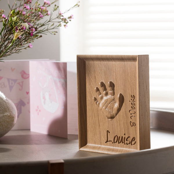 Solid Oak Handprint Carving